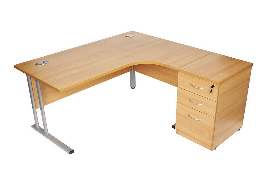 Radial Desk with desk height pedestal 1800mm x 1630mm x 25mm top