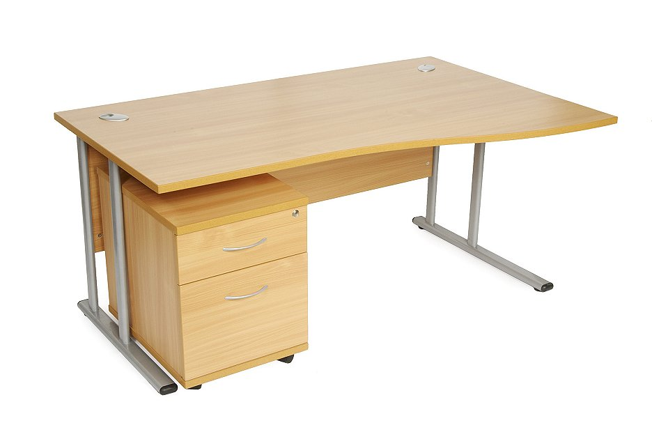 Wave desk and 3 draw pedestal