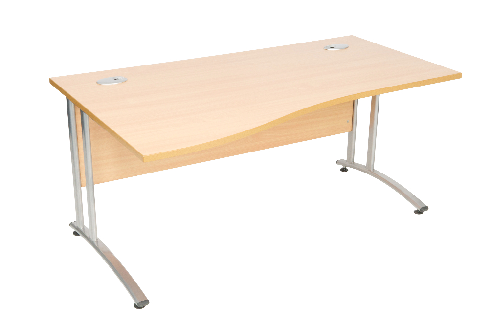 Cantilever wave desk right hand
