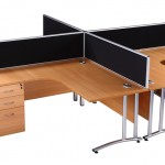 Block of 4 radial desks and desk high pedestals