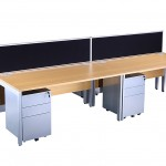 Light oak block bench desk & silver pedestals