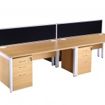 Light oak block bench desk & pedestals