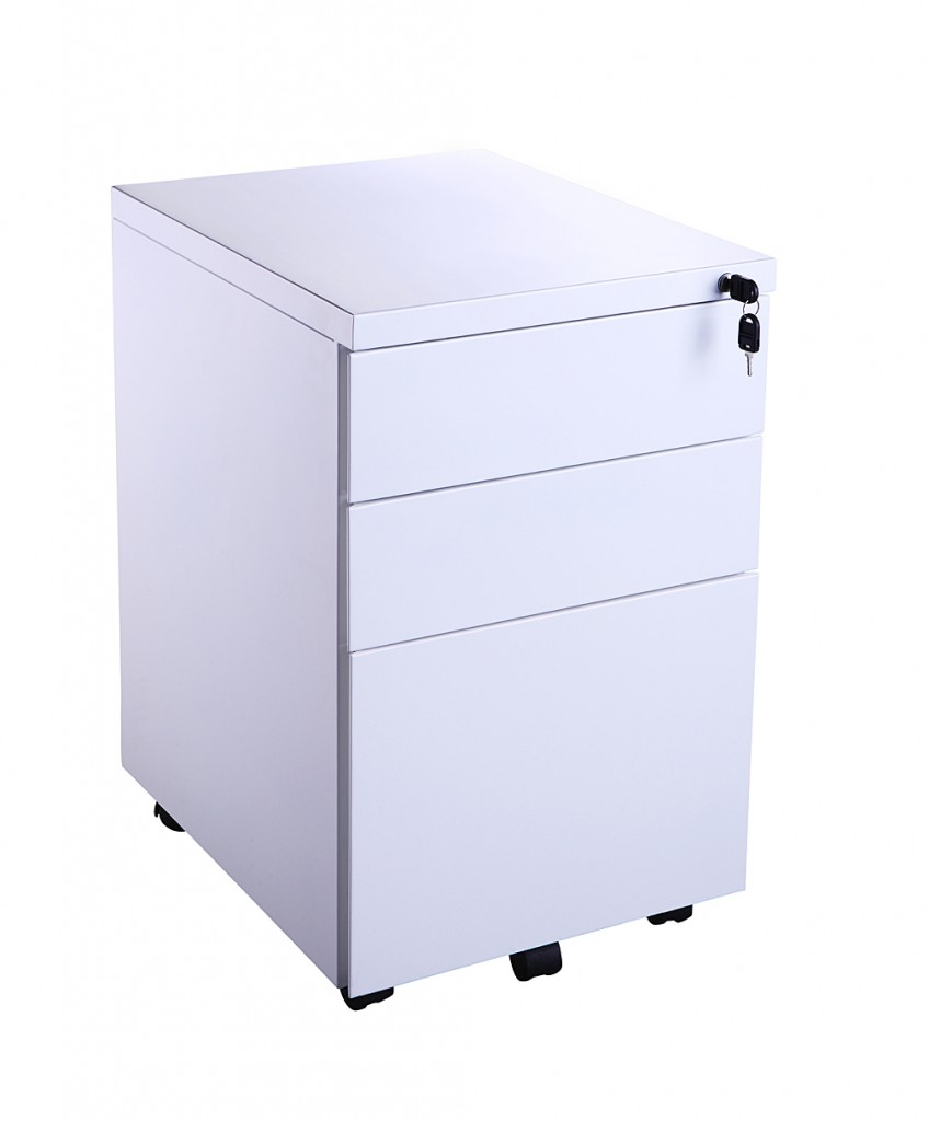 White Metal 3 Draw Pedestal Office Furniture Solutions 4u