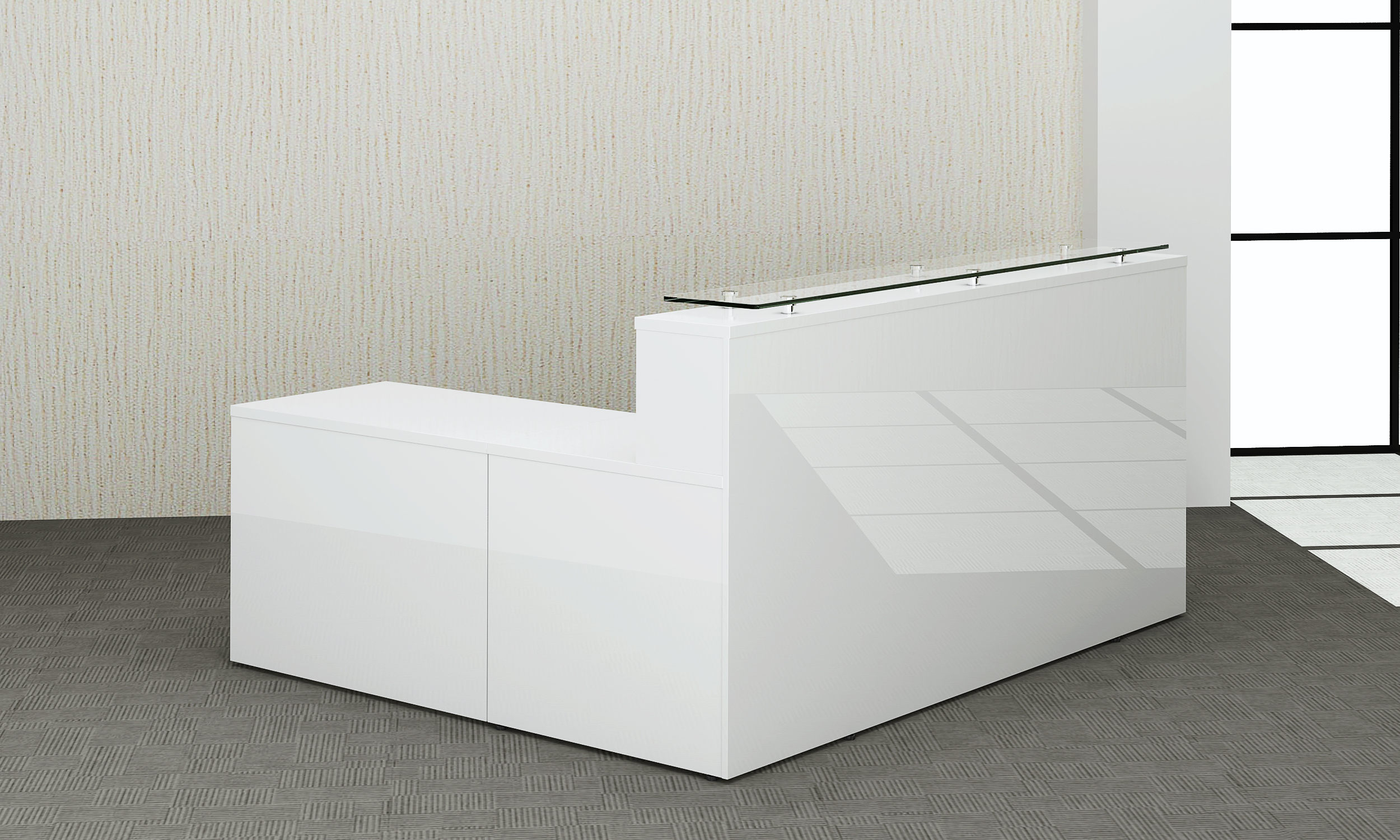 White high Gloss Reception Counter | Office Furniture Solutions 4U