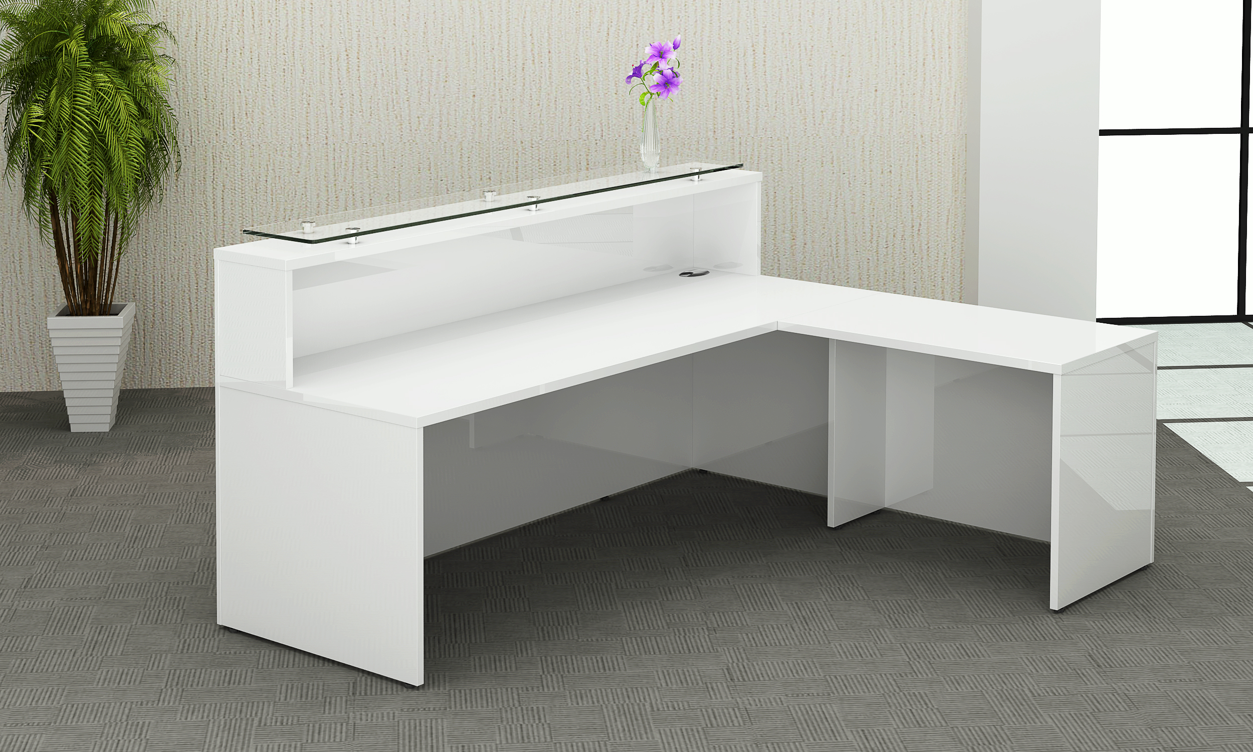 White High Gloss Reception Counter Office Furniture Solutions 4u