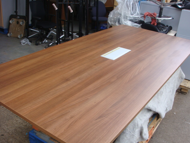 Walnut table with comm access