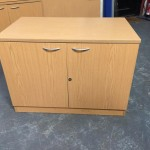 Light oak desk high cupboard