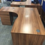 Walnut panel end radial desk
