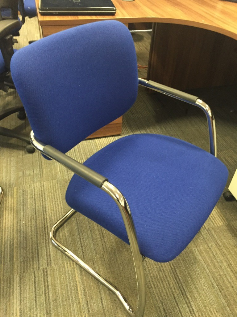 Blue chrome frame meeting chair