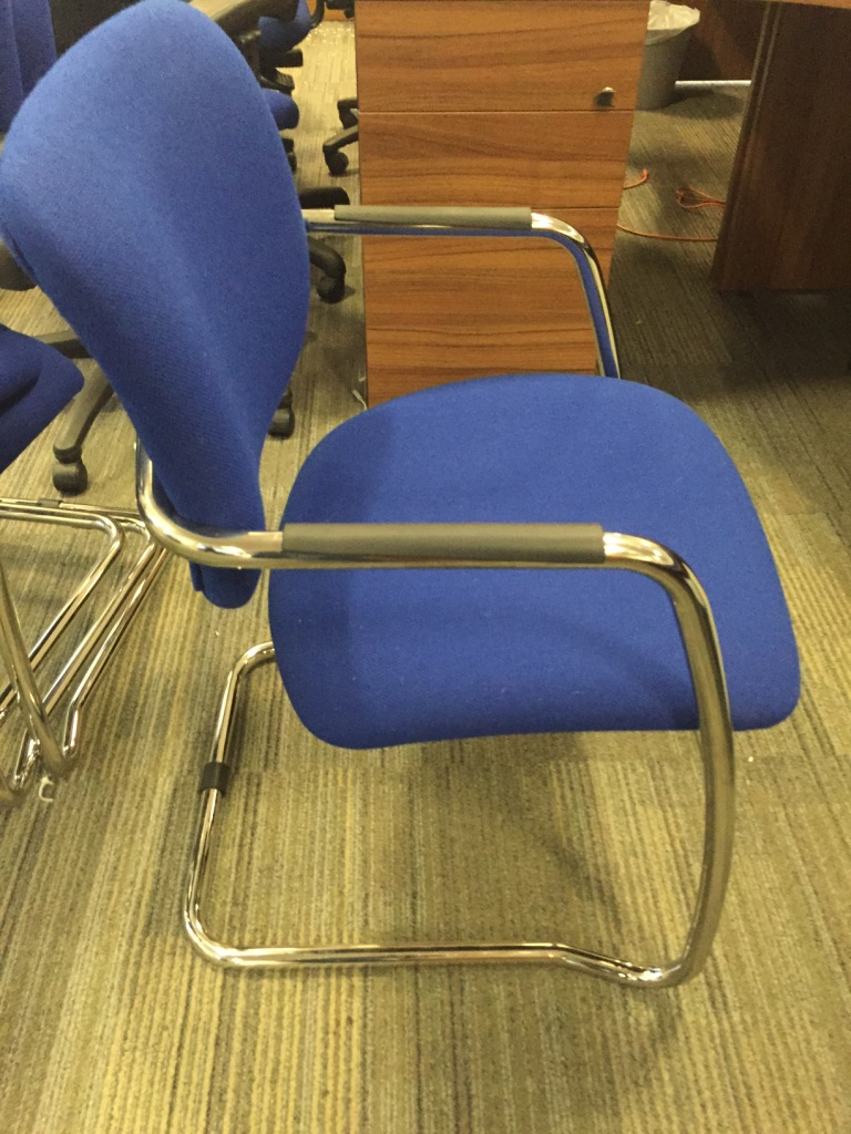 Blue Chrome Frame Meeting Chair Office Furniture Solutions 4u