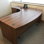 bow fronted walnut panel end desk