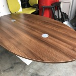 Walnut oval meeting table