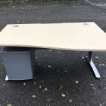 Maple wave or rectangular desk & pedestal