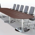 Pedestal base boardroom table