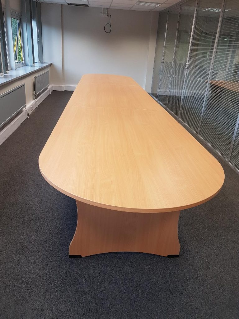 Beech rounded end 3 piece boardroom table