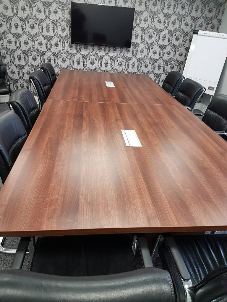 Rectangular walnut table with comms 35mm thick