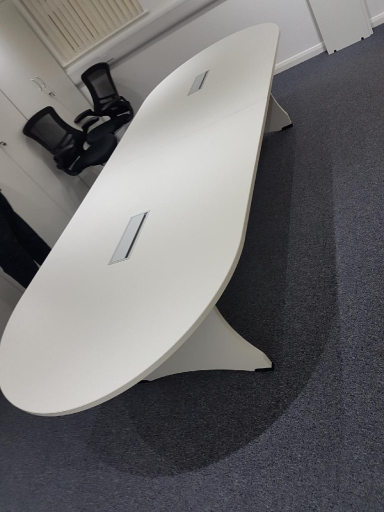 White rounded end boardroom table
