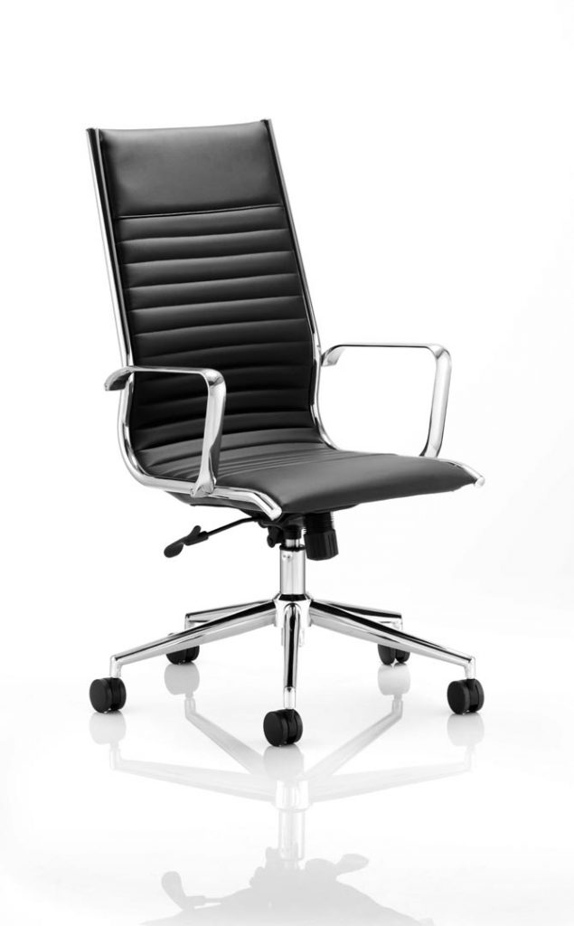 Ritz Executive Chair Black Bonded Leather High Back With Arms