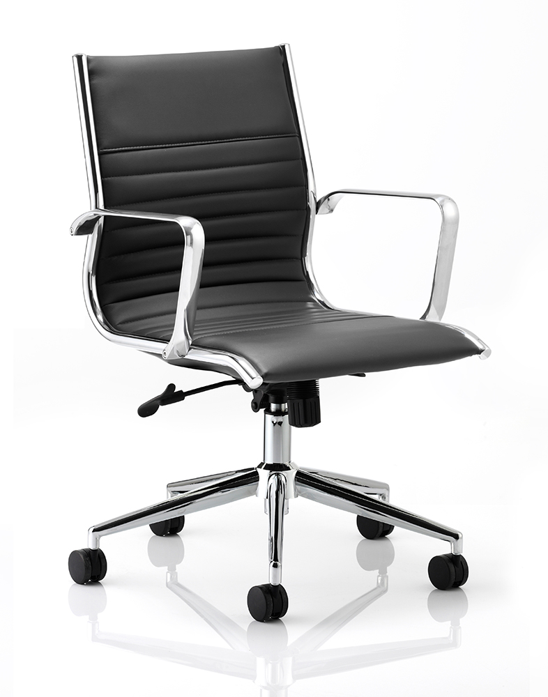 Ritz Executive Chair Black Bonded Leather Medium Back With Arms