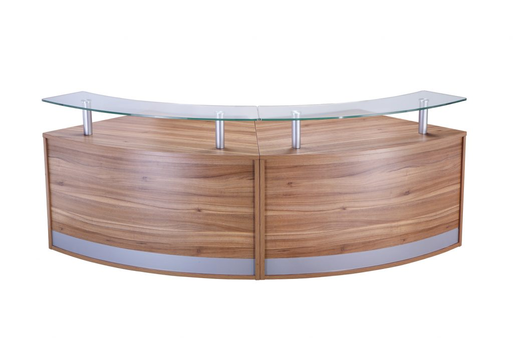American oak 2 piece glass top reception unit