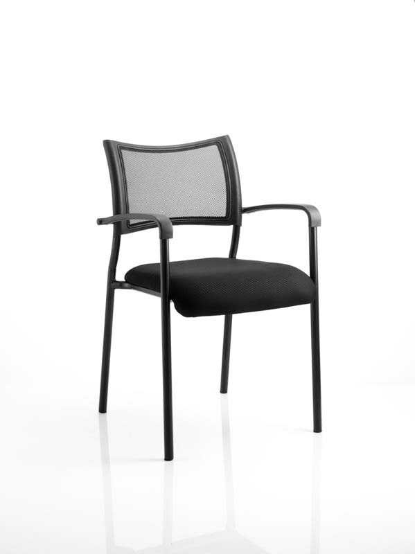 Brunswick Visitor Black Fabric Chair With Arms Black Frame