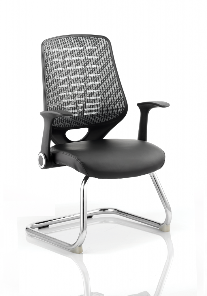 Relay Visitor Cantilever Leather Seat Silver Back With Arms